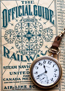"Here atop The Official Guide, illustrating the railroad established North American standard time zones, is a Howard Series 11, 21 jewel railway watch. The movement was aptly named and sold under the name, ""railroad chronometer"" (ca 1912)."